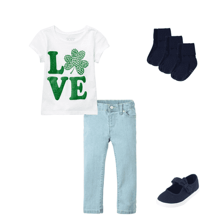 e96a95abf34955 Baby And Toddler Girls St. Patrick's Day Short Sleeve Glitter 'LOVE ...